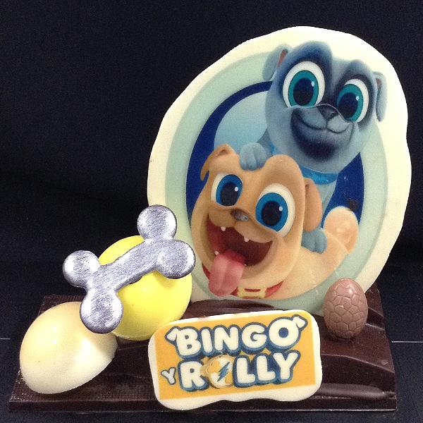 mona de pascua de chocolate personaje dibujos animados bingo y rolly