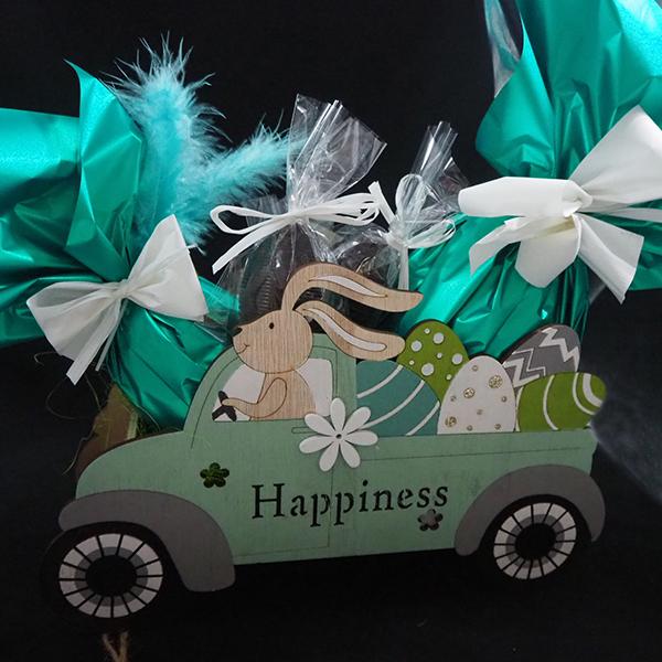 cotxe conillets de pasqua amb ous grans de xocolata artesanals